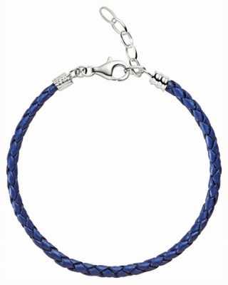 Chamilia Un tamaño de color azul metálico pulsera de cuero trenzado 1030-0111