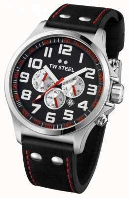 TW Steel Hombre piloto acero inoxidable negro y rojo chrono TW0415