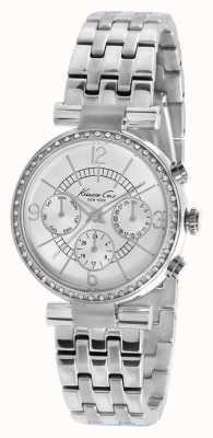 Kenneth Cole acero inoxidable esfera de plata reloj cristalino-set Mujeres KC4872