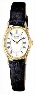 Pulsar Placa de oro de las señoras, de línea óvalo blanco, reloj de cuero negro PPGD64X1