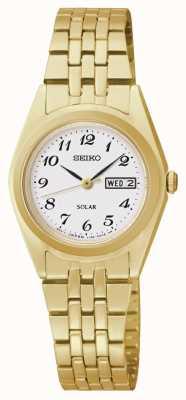 Seiko Reloj de dial clásico de tono dorado con energía solar SUT118P9