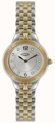 Rotary reloj de dos tonos de las señoras con el conjunto de piedra LB02762/59