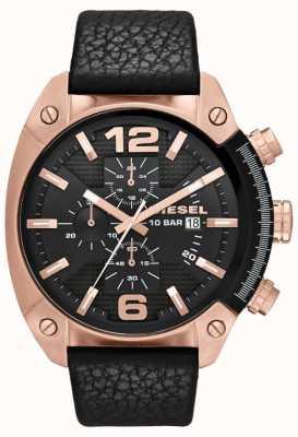 Diesel Mens desbordamiento esfera de color negro negro de cuero correa de reloj de oro rosa DZ4297