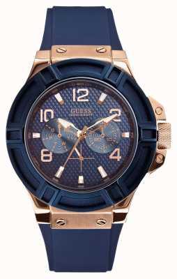 Guess Para hombre de rigor azul y reloj de oro y se levantaron W0247G3