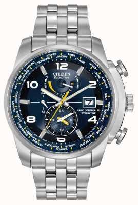 Citizen Acero inoxidable esfera azul Radio controlado el tiempo del mundo AT9010-52L