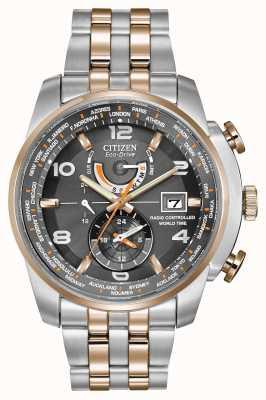 Citizen el tiempo del mundo para hombre en gris de línea de cronógrafo de dos tonos AT9016-56H