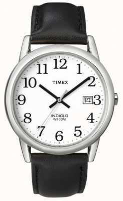 Timex Mens blanco negro fácil leer el reloj T2H281