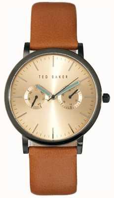 Ted Baker Reloj para hombre de cuero marrón esfera de oro de línea múltiple TE1094