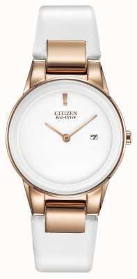 Citizen Ladies 'axioma, placa de oro, cerámica blanca, reloj de la correa de cuero GA1053-01A