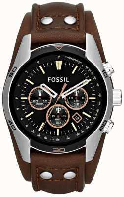 Fossil Mens cochero esfera de color negro brazalete de cuero marrón reloj de la correa CH2891