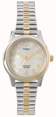 Timex Señoras de dos tonos vestido expansor reloj T2M828