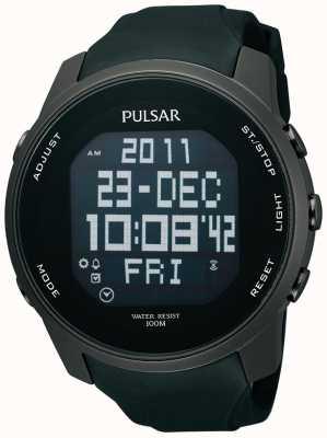Pulsar Mens ión digital de acero recubierta de caucho negro reloj de la correa PQ2011X1