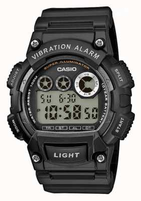 Casio Reloj de alarma de vibración de correa de resina negra para hombre W-735H-1AVEF