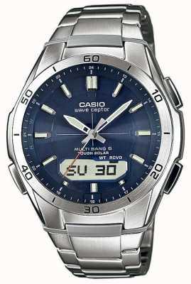 Casio Para hombre de la onda Ceptor esfera azul reloj de acero inoxidable WVA-M640D-2AER