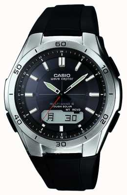 Casio reloj de acero inoxidable correa de caucho negro para hombre de la onda Ceptor WVA-M640-1AER