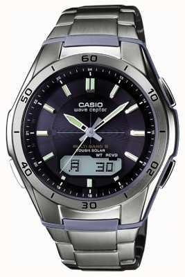 Casio Para hombre de la onda Ceptor reloj de titanio esfera de color negro WVA-M640TD-1AER