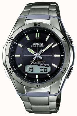 Casio Reloj de titanio con esfera negra para hombre wave ceptor WVA-M640TD-1AER