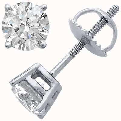 Certified Diamond Pendientes, cuatro garras 1.00ct h si, tornillo de nuevo mobiliario C100PT-4CLAW-HSI