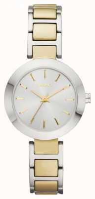 DKNY En dos tonos, esfera redonda, correa de reloj de pulsera de señoras NY2401