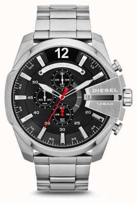 Diesel reloj de mega jefe de línea negro de acero inoxidable para hombre DZ4308