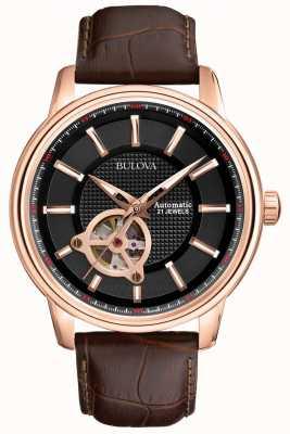 Bulova Mens automático de reloj color de rosa correa de cuero marrón de oro 97A109