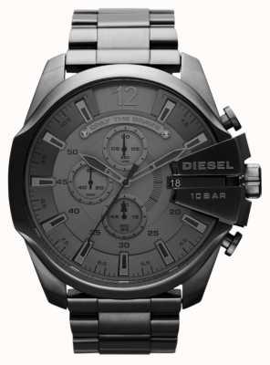 Diesel Mens Mega jefe de reloj de acero negro DZ4282