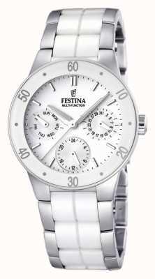 Festina Blanco de cerámica y acero inoxidable de las señoras, reloj multi-línea F16530/1