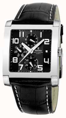 Festina Reloj para hombre de cuero negro de línea múltiple negro de acero inoxidable F16235/F