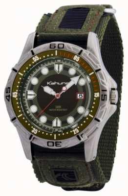 Kahuna mens correa de tela verde reloj K5V-0003G