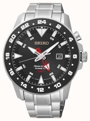 Seiko Mens sportura reloj negro de línea de acero inoxidable cinética SUN015P1