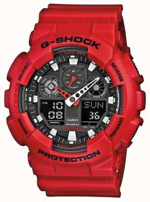 Casio Reloj para hombre de la función multi resina roja GA-100B-4AER
