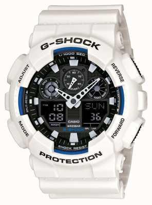 Casio Mens g de choque reloj resina blanca GA-100B-7AER