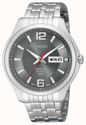 Pulsar Reloj para hombre de línea gris de acero inoxidable deporte cinética PD2035X1