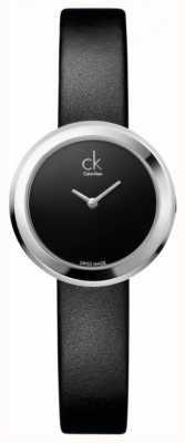 Calvin Klein Firma de señoras, acero inoxidable, correa de reloj de cuero negro K3N231C1