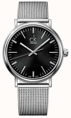 Calvin Klein Mens rodean reloj de la correa de malla esfera de color negro K3W21121