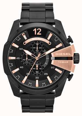 Diesel Mens Mega jefe de la placa de iones negro y rosa reloj de oro DZ4309