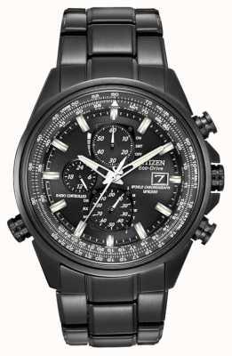 Citizen Para hombre reloj cronógrafo de acero chapado en negro ión-tiempo del mundo en AT8025-51E