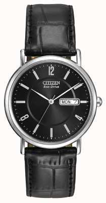 Citizen Caballeros correa de cuero negro eco-drive BM8240-03E