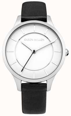 Karen Millen ión negro acero chapado reloj correa de cuero para mujer ' KM133BA