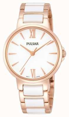 Pulsar Señoras subieron un reloj clásico vestido blanco PH8078X1