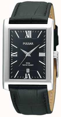 Pulsar Reloj para hombre de cuero negro esfera rectangular de acero inoxidable PXDB71X1