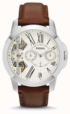 Fossil Mens conceden reloj de la correa de cuero marrón de línea blanca ME1144