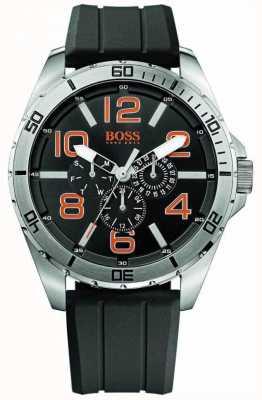 Hugo Boss Orange Reloj para hombre de línea de múltiples correa de caucho negro de acero inoxidable 1512945