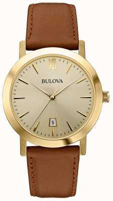 Bulova Vestido clásico hombre correa de cuero marrón reloj 97B135