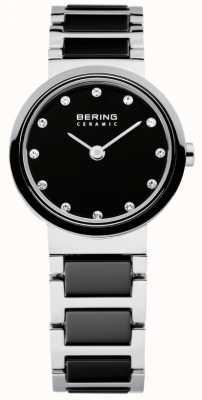 Bering Tiempo damas negro y cerámica de plata 10725-742