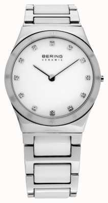 Bering Señoras Reloj análogo de cuarzo de cerámica de plata 32230-764