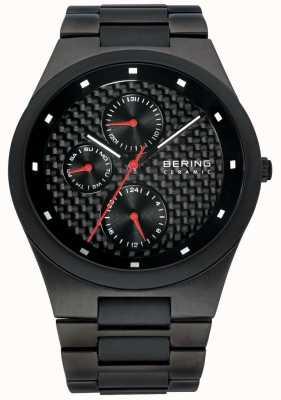 Bering Reloj para hombre de línea múltiple de cerámica de fibra de carbono negro 32339-782