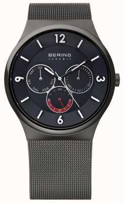 Bering Reloj para hombre de la correa de cerámica negro de malla de acero de línea gris 33440-077