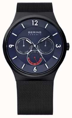 Bering Reloj para hombre de la correa de cerámica azul de malla de acero de línea ip negro 33440-227