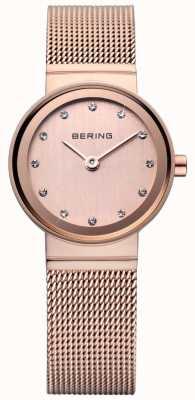 Bering Rose reloj de oro de malla clásica 10122-366